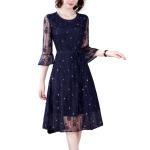 Women Fashion Lace Dress A-line Skirt (Color:Navy Blue Size:M)
