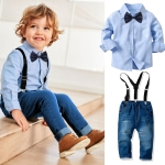 Children Long-sleeved Shirt + Denim Suspenders And Trousers Two-piece Suit (Color:Blue Size:90)