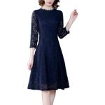 Fashion Simple Lace Skirt A-line Dress (Color:Navy Blue Size:M)