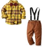 Boys Plaid Long-sleeved Shirt + Suspender Trousers Suit (Color:Brown Size:140)