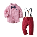Boys Striped Shirt + Suspenders Trousers Suit (Color:Pink Size:90)