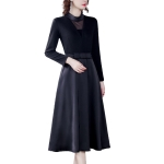 Retro Stitching Long Sleeve A-line Skirt Fake Two-piece Dress (Color:Black Size:S)