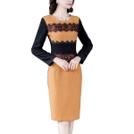 Contrast Color Woolen Cloth Wrapped Hip Bottom Dress (Color:Yellow Size:M)