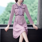 Women Fashion Lacing Bowknot Long Sleeves Mid-length Dress (Color:Purple Size:M)