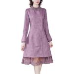 Fashion Stitching Lace Slim A-line Skirt Dress (Color:Pink Purple Size:M)