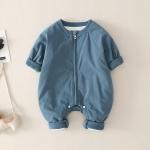 Winter Smiley Letter Pattern Cotton Baby Romper (Color:Blue Size:66cm)