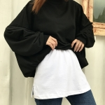 Cotton Inner Knitted Hem Bottom Skirt (Color:White Size:Free size)