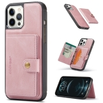 JEEHOOD Retro Magnetic Detachable Leather Case with Wallet & Card Slot & Holder For iPhone 12 / 12 Pro(Pink)