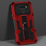 For LG Stylo 6 Vanguard Warrior All Inclusive Double-color Shockproof TPU + PC Protective Case with Holder(Red)