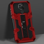 For Motorola Moto G9 Play Vanguard Warrior All Inclusive Double-color Shockproof TPU + PC Protective Case with Holder(Red)