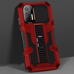 For Motorola Moto G9 Plus Vanguard Warrior All Inclusive Double-color Shockproof TPU + PC Protective Case with Holder(Red)
