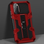 For Samsung Galaxy S20 FE Vanguard Warrior All Inclusive Double-color Shockproof TPU + PC Protective Case with Holder(Red)