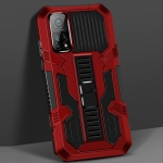 For Xiaomi Mi 10T Vanguard Warrior All Inclusive Double-color Shockproof TPU + PC Protective Case with Holder(Red)