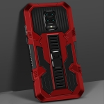 For Xiaomi Redmi Note 9S Vanguard Warrior All Inclusive Double-color Shockproof TPU + PC Protective Case with Holder(Red)
