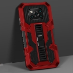 For Xiaomi Poco X3 Vanguard Warrior All Inclusive Double-color Shockproof TPU + PC Protective Case with Holder(Red)