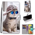 For Samsung Galaxy A51 5G Coloured Drawing Cross Texture Horizontal Flip PU Leather Case with Holder & Card Slots & Wallet & Lanyard(Oblique Hat Blue Mirror Cat)