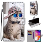 For Samsung Galaxy A70 Coloured Drawing Cross Texture Horizontal Flip PU Leather Case with Holder & Card Slots & Wallet & Lanyard(Oblique Hat Blue Mirror Cat)