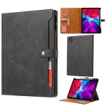 Calf Texture Double Fold Clasp Horizontal Flip Leather Case with Photo Frame & Holder & Card Slots & Wallet For iPad Pro 11 inch (2020)(Black)