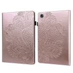 For Lenovo Tab M8 (FHD) TB-8705F Peacock Embossed Pattern TPU + PU Horizontal Flip Leather Case with Holder & Card Slots & Wallet & Sleep / Wake-up Function(Rose Gold)