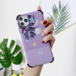 IMD Leaf Pattern Shockproof TPU Protective Case For iPhone 11 Pro(Purple)