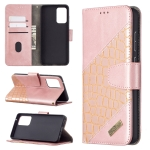 For Samsung Galaxy A72 5G Matching Color Crocodile Texture Horizontal Flip PU Leather Case with Wallet & Holder & Card Slots(Rose Gold)