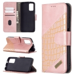 For Xiaomi Poco M3 Matching Color Crocodile Texture Horizontal Flip PU Leather Case with Wallet & Holder & Card Slots(Rose Gold)