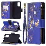 For Xiaomi Poco M3 Colored Drawing Pattern Zipper Horizontal Flip Leather Case with Holder & Card Slots & Wallet(Purple Butterfly)