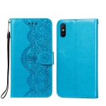 For Xiaomi Redmi 9A Flower Vine Embossing Pattern Horizontal Flip Leather Case with Card Slot & Holder & Wallet & Lanyard(Blue)