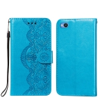 For Xiaomi Redmi Go Flower Vine Embossing Pattern Horizontal Flip Leather Case with Card Slot & Holder & Wallet & Lanyard(Blue)