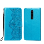 For Xiaomi Redmi K20 Flower Vine Embossing Pattern Horizontal Flip Leather Case with Card Slot & Holder & Wallet & Lanyard(Blue)