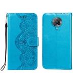 For Xiaomi Redmi K30 Pro Flower Vine Embossing Pattern Horizontal Flip Leather Case with Card Slot & Holder & Wallet & Lanyard(Blue)