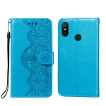 For Xiaomi Redmi Note 6 / Note 6 Pro Flower Vine Embossing Pattern Horizontal Flip Leather Case with Card Slot & Holder & Wallet & Lanyard(Blue)