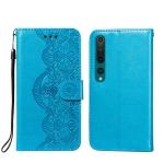 For Xiaomi Mi 10 Pro Flower Vine Embossing Pattern Horizontal Flip Leather Case with Card Slot & Holder & Wallet & Lanyard(Blue)