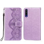 For Xiaomi Mi CC9e / Mi A3 Flower Vine Embossing Pattern Horizontal Flip Leather Case with Card Slot & Holder & Wallet & Lanyard(Purple)