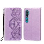 For Xiaomi Mi CC9 Pro / Mi Note 10 Flower Vine Embossing Pattern Horizontal Flip Leather Case with Card Slot & Holder & Wallet & Lanyard(Purple)