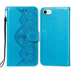 Flower Vine Embossing Pattern Horizontal Flip Leather Case with Card Slot & Holder & Wallet & Lanyard For iPhone SE 2020 & 8 & 7(Blue)