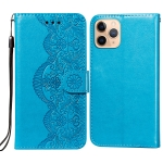 Flower Vine Embossing Pattern Horizontal Flip Leather Case with Card Slot & Holder & Wallet & Lanyard For iPhone 11 Pro Max(Blue)