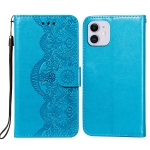 Flower Vine Embossing Pattern Horizontal Flip Leather Case with Card Slot & Holder & Wallet & Lanyard For iPhone 12 mini(Blue)