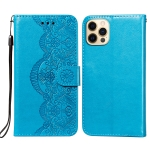 Flower Vine Embossing Pattern Horizontal Flip Leather Case with Card Slot & Holder & Wallet & Lanyard For iPhone 12 / 12 Pro(Blue)