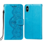 Flower Vine Embossing Pattern Horizontal Flip Leather Case with Card Slot & Holder & Wallet & Lanyard For iPhone X/ XS(Blue)