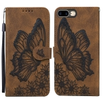 Retro Skin Feel Butterflies Embossing Horizontal Flip Leather Case with Holder & Card Slots & Wallet For iPhone 8 Plus / 7Plus(Brown)