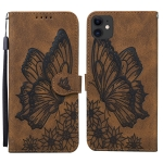 Retro Skin Feel Butterflies Embossing Horizontal Flip Leather Case with Holder & Card Slots & Wallet For iPhone 11(Brown)