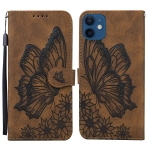 Retro Skin Feel Butterflies Embossing Horizontal Flip Leather Case with Holder & Card Slots & Wallet For iPhone 12 mini(Brown)