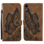 Retro Skin Feel Butterflies Embossing Horizontal Flip Leather Case with Holder & Card Slots & Wallet For iPhone XR(Brown)