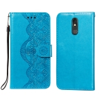 For LG Stylo 5 Flower Vine Embossing Pattern Horizontal Flip Leather Case with Card Slot & Holder & Wallet & Lanyard(Blue)