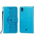For LG K20 Flower Vine Embossing Pattern Horizontal Flip Leather Case with Card Slot & Holder & Wallet & Lanyard(Blue)