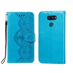 For LG K40S Flower Vine Embossing Pattern Horizontal Flip Leather Case with Card Slot & Holder & Wallet & Lanyard(Blue)
