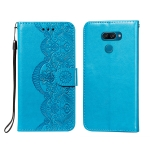 For LG K50 Flower Vine Embossing Pattern Horizontal Flip Leather Case with Card Slot & Holder & Wallet & Lanyard(Blue)