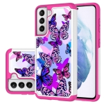 For Samsung Galaxy S21+ 5G Coloured Drawing Pattern PU + TPU Protective Case(Butterfly)