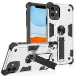 Shockproof TPU + PC Protective Case with Invisible Holder For iPhone 11 Pro Max(Silver)